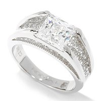 TYCOON SS/PLAT SQUARE CUT WITH PAVE UNDER RING