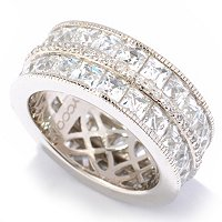 TYCOON SS/PLAT TWO-ROW ETERNITY BAND RING