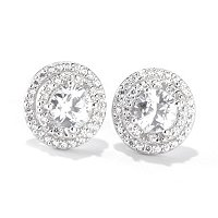 TYCOON SS/PLAT CHOICE OF SHAPE DOUBLE HALO STUD EARRINGS