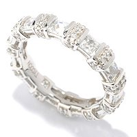 TYCOON SS/PLAT SQUARE AND ROUND ETERNITY BAND RING
