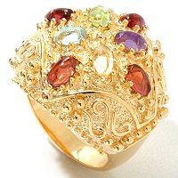 SS/18KYGP RING DOMED W/GEMSTONE