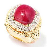 SS/18KYGP RING OPAQUE DYED PRECIOUS GEM CENTER w/ WHT TOPAZ