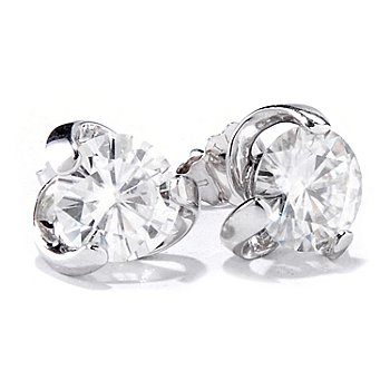 119-438 - Estrella Moissanite 14K White Gold 1.76 DEW Twist Stud Earrings