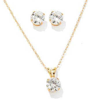 119-441 - Estrella Moissanite 14K Gold 1.23 DEW 5mm Stud Earrings & Pendant Set