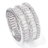 BLTA SS/PLAT BAGUETTE AND ROUND 2-ROW ETERNITY RING