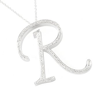 119-478 - Diamond Treasures Sterling Silver Diamond Initial Pendant w/ 24'' Chain