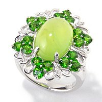 SS GREEN OPAL RING WITH WHITE ZIRCON ACCENTS