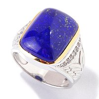 MEN'S - SS/PALL RING CUSHION-CUT GEMSTONE & WHITE SAPPHIRES