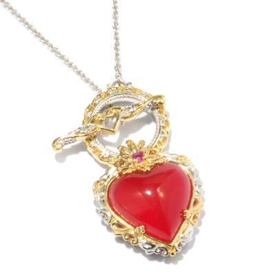 "119-514 - Gems en Vogue II 20"" Polished Heart Shaped Gemstone Necklace"