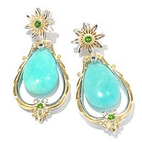 ROBI/AMA - SS/PALL/18KGP EAR AMAZONITE DROP w/ CHROME DIOPSIDE & BLUE SAPH