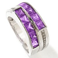 MEN'S - SS/PALL RING 10-STONE AMETHYST