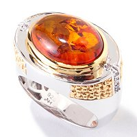 MEN'S - SS/PALL/18KGP RING BALTIC AMBER & WHT SAPH