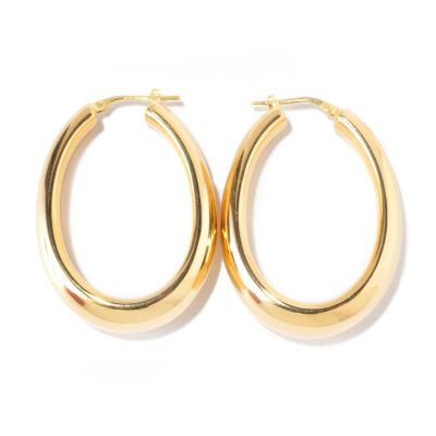 119-531 - Milano Luxe Gold Embraced[ Polished Elongated Hoop Earrings