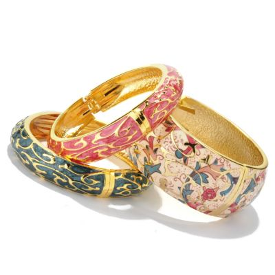 119-704 - Set of Three Hand Painted Champleve Hinged Bangle Bracelets