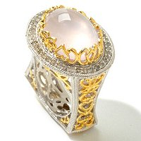 SS/TT WHITE YELLOW VERMIEL RING WITH ROSE QUARTZ AND DIAMONDS