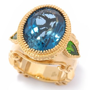 119-778 - Dallas Prince Designs 12.70ctw London Blue Topaz & Chrome Diopside Oval Ring