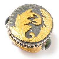 SS/24KV TWO-TONE RING FEATHER MOTIF MEDALLION w/TOURM SIDES & GEM BORDER