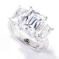TYCOON SS/PLAT THREE STONE RECTANGULAR RING