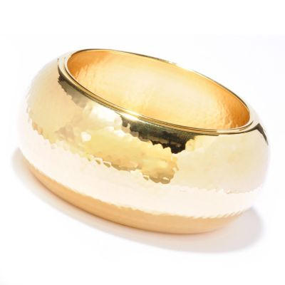 "119-859 - Toscana Italiana Gold Embraced[ 8"" Martellato Wide Slip-On Bangle Bracelet"