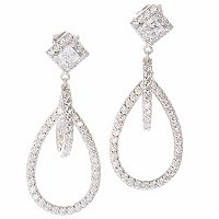 TYCOON SS/PLAT SQUARE AND ROUND DOUBLE DROP EARRINGS