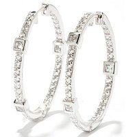 TYCOON SS/PLAT SQUARE BEZEL AND ROUND HOOP EARRINGS