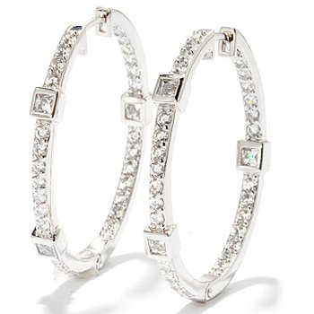119-877 - TYCOON for Brilliante® 2.32 DEW Round Cut & Square Bezel Hoop Earrings