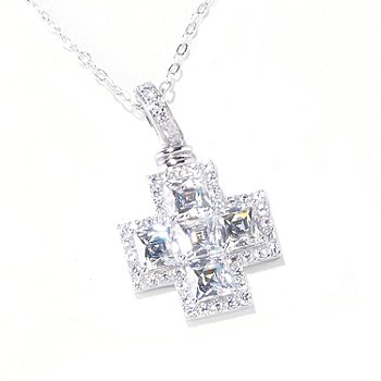 119-882 - TYCOON for Brilliante® 4.26 DEW Square Cross Pendant w/ 18'' Chain