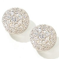 SB SS/PLAT PAVE BUTTON STUD EARRINGS