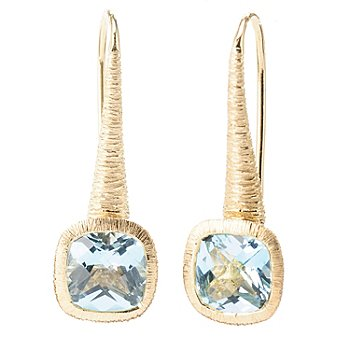 119-942 - Michelle Albala Checkerboard Cut Gemstone 1'' Drop Earrings