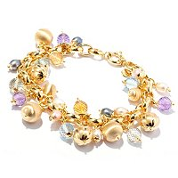 VIALE 18K PEARL & GEMSTONE DANGLE CHARM BRACELET