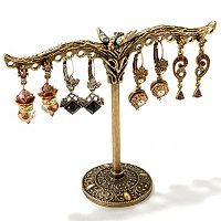 GOLDTONE EARRING TREE W/4 SETS OF EARRINGS