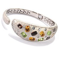 SS/P BRAC MULTI CUSHION GEM & WHT SAPH HINGED BANGLE