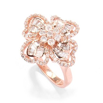 120-057 - Diamond Treasures 14K Rose Gold 1.22ctw Round & Baguette Diamond Flower Ring