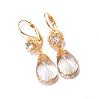 SWEET ROMANCE GOLDTONE CHAMPAGNE ON ICE EARRINGS