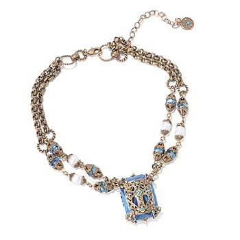 120-063 - Sweet Romance™ 15'' Crystal & Cultured Pearl Filigreed Cross ''Chartes'' Necklace