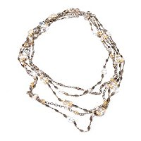 GOLDTONE CRYSTAL KNOT MULTISTRAND NECKLACE