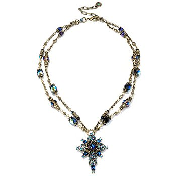 120-087 - Sweet Romance™ 24'' Gold-tone Blue Glass & Crystal Cross Necklace