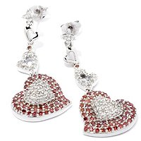 SS PINK & WHITE DIAMOND HEART DROP EARRINGS