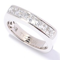 TYCOON SS/PLAT CHANNEL SET SQUARE BAND RING