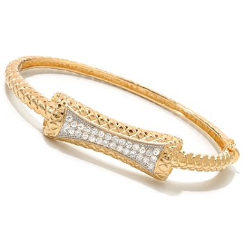 120-177 - DESORO™ Gold Embraced™ Brilliante® Quilted Texture Bangle Bracelet
