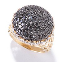 14K YG ROUND PAVE BLACK DIAMOND RING