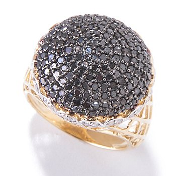 120-209 - Diamond Treasures 14K Gold 1.40ctw Black & White Diamond Pave Dome Ring
