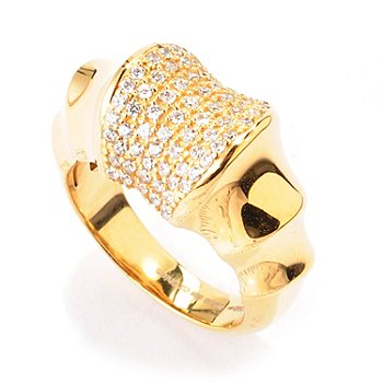 120-224 - Sonia Bitton for Brilliante® Gold Embraced Pave Bamboo Ring