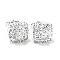 14K WHITE GOLD DIAMOND SQUARE SHAPED EARRINGS .50CTW