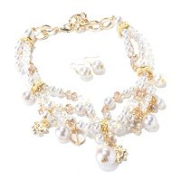 "THE FIND BY ANNIE G. ""DEMURE DIVA"" GLASS PEARL NECKLACE AND EARRING SET"