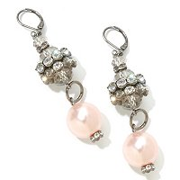 "THE FIND BY ANNIE G. ""MARILYN EARRINGS"" GLASS PEARL & CRYSTAL EARRINGS"