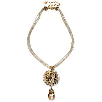 120-259 - Sweet Romance™ Two-tone 18'' Peacock on Crystal Rocks Necklace
