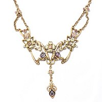 GOLDTONE LILAC ART NOUVEAU NECKLACE