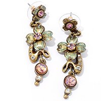 GOLDTONE LILAC ART NOUVEAU EARRINGS