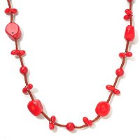 "49"" DYED RED SEA BAMBOO CORD NECKLACE"